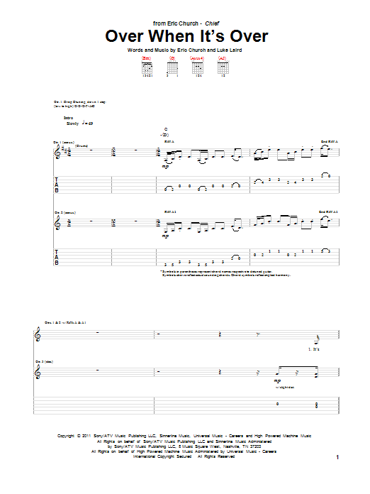 Tablature guitare Over When It's Over de Eric Church - Tablature Guitare