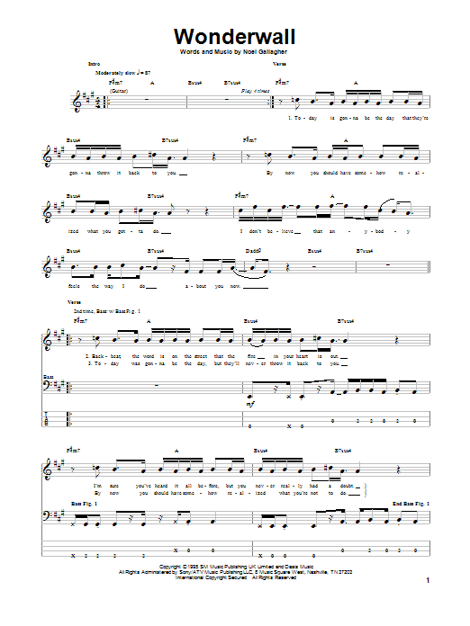 Wonderwall Oasis Bass Guitar Tab