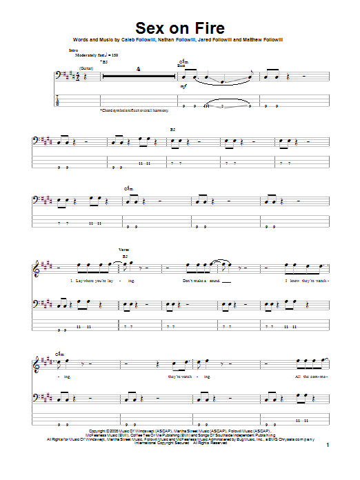 Sex On Fire Sheet Music Kings Of Leon Bass Guitar Tab