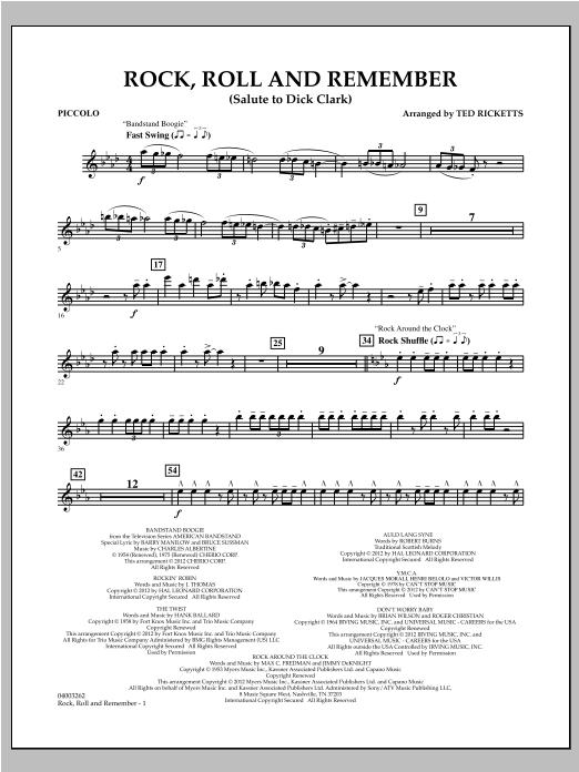 Rock, Roll And Remember (Salute To Dick Clark) - Piccolo Sheet Music