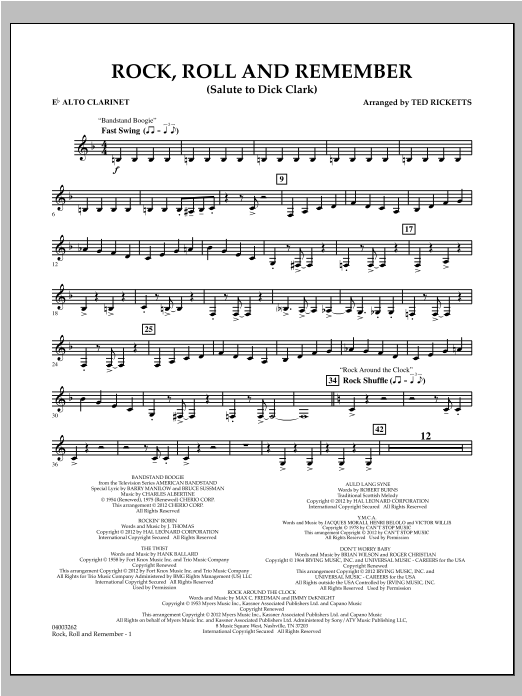 Rock, Roll And Remember (Salute To Dick Clark) - Eb Alto Clarinet Sheet Music
