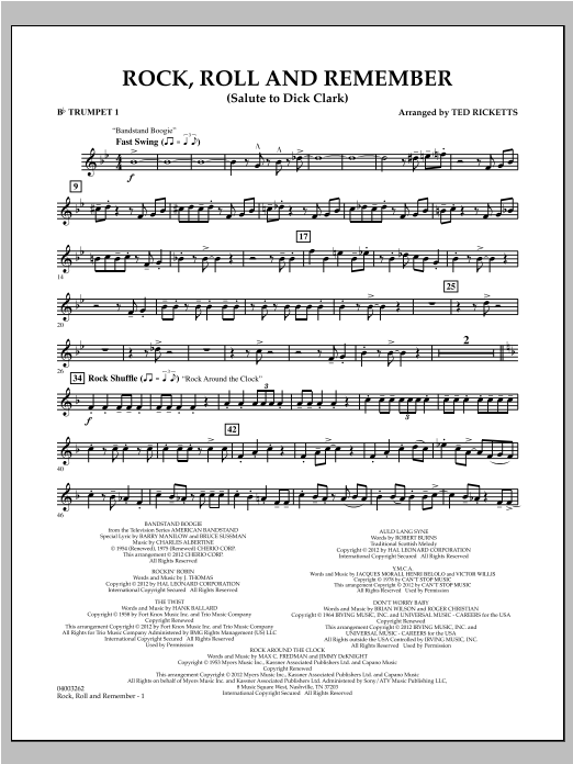 Rock, Roll And Remember (Salute To Dick Clark) - Bb Trumpet 1 Sheet Music
