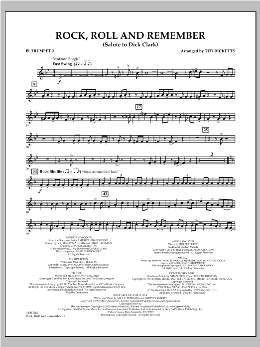 Rock, Roll And Remember (Salute To Dick Clark) - Bb Trumpet 2 Sheet Music