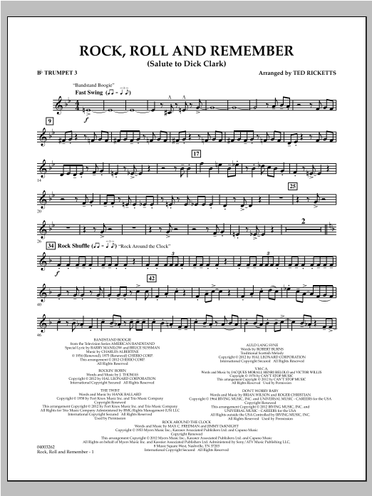 Rock, Roll And Remember (Salute To Dick Clark) - Bb Trumpet 3 Sheet Music