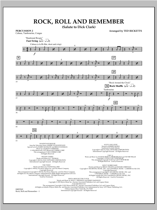 Rock, Roll And Remember (Salute To Dick Clark) - Percussion 2 Sheet Music