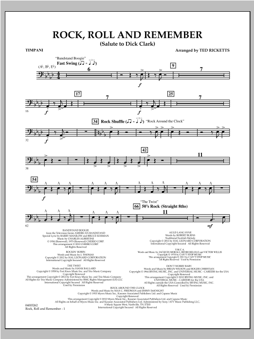 Rock, Roll And Remember (Salute To Dick Clark) - Timpani Sheet Music