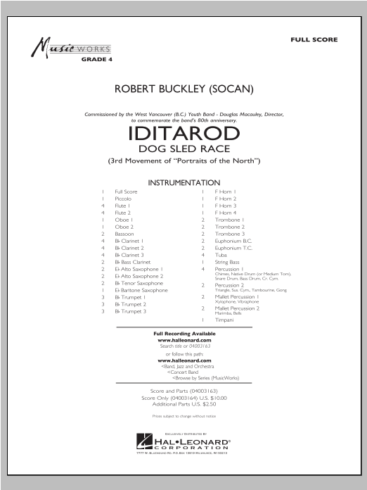 Iditarod (COMPLETE) sheet music for concert band by Robert Buckley. Score Image Preview.