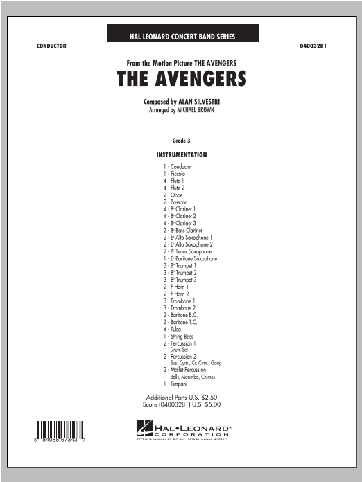 The Avengers (COMPLETE) sheet music for concert band by Michael Brown and Alan Silvestri. Score Image Preview.