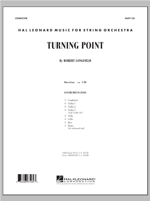 Turning Point (COMPLETE) sheet music for orchestra by Robert Longfield. Score Image Preview.