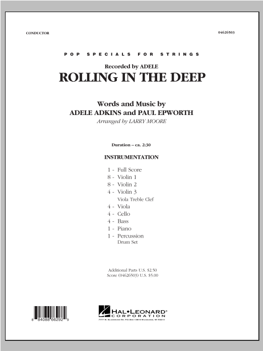 Rolling in the Deep (COMPLETE) sheet music for orchestra by Larry Moore, Adele, Adele Adkins and Paul Epworth. Score Image Preview.