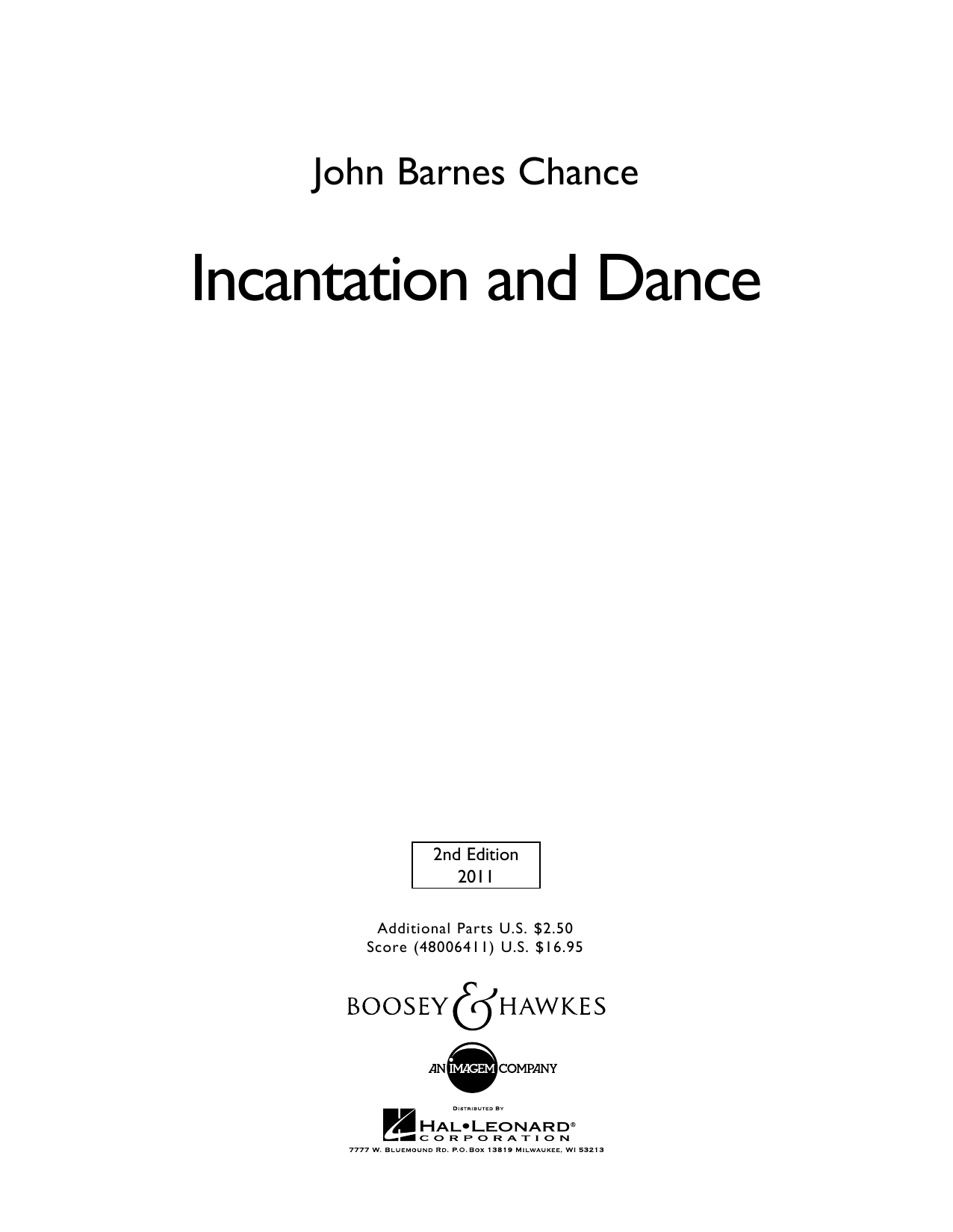 Incantation and Dance - Full Score (Concert Band)