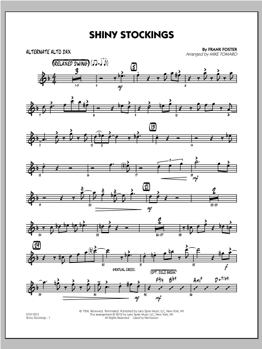 Shiny Stockings - Alternate Alto Sax Sheet Music