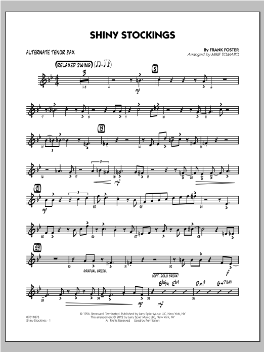 Shiny Stockings - Alternate Tenor Sax Sheet Music