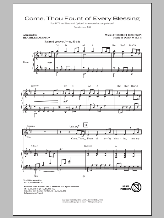 Come, Thou Fount Of Every Blessing (arr. Heather Sorenson) Sheet Music