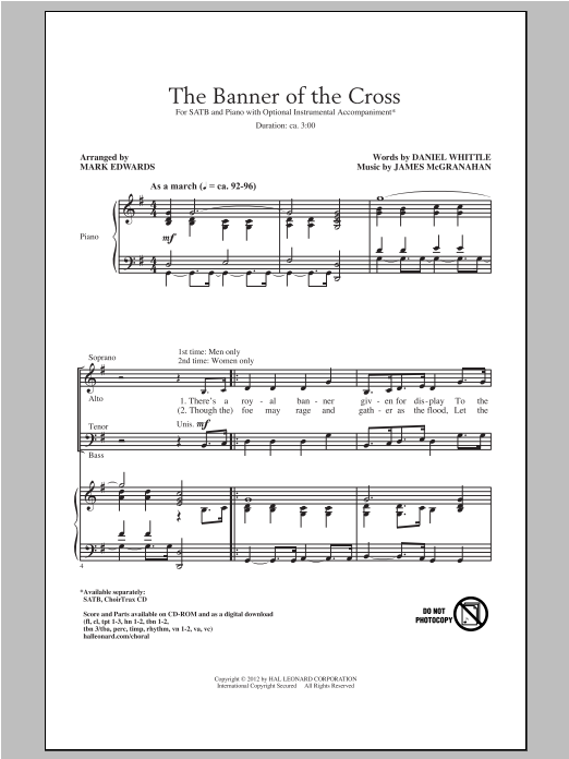 Partition chorale The Banner Of The Cross de Mark Edwards - SATB