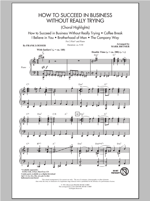 How to Succeed In Business Without Really Trying (Medley) Sheet Music