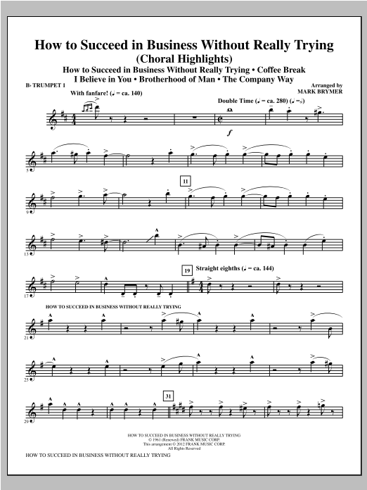 How to Succeed In Business Without Really Trying (Medley) - Bb Trumpet 1 Sheet Music