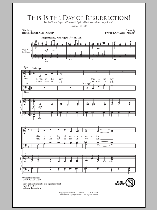 Partition chorale This Is The Day Of Resurrection! de David Lantz III - SATB