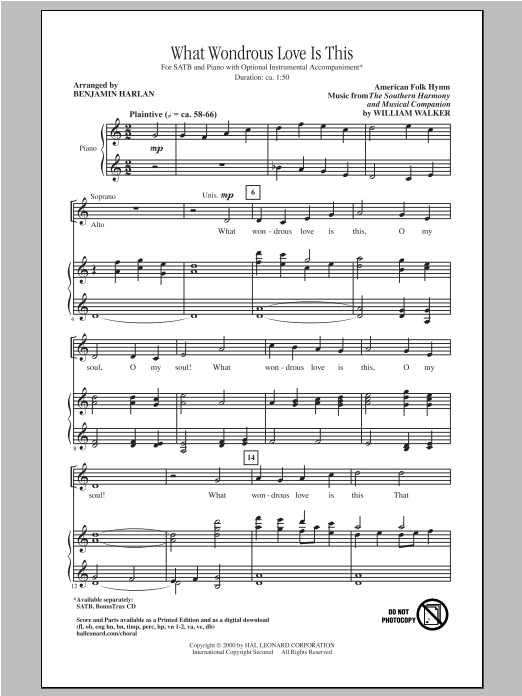 Partition chorale What Wondrous Love Is This de Benjamin Harlan - SATB