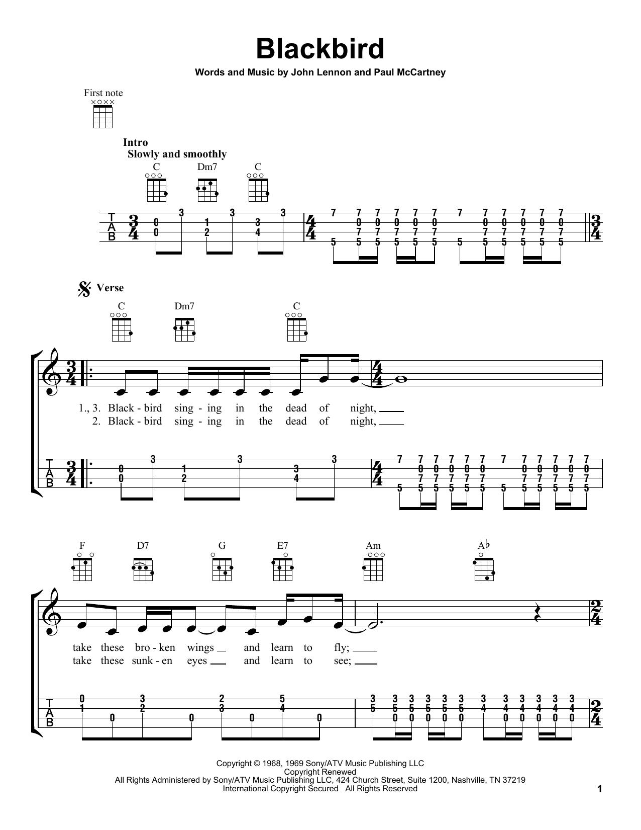 Tablature guitare Blackbird de The Beatles - Ukulele