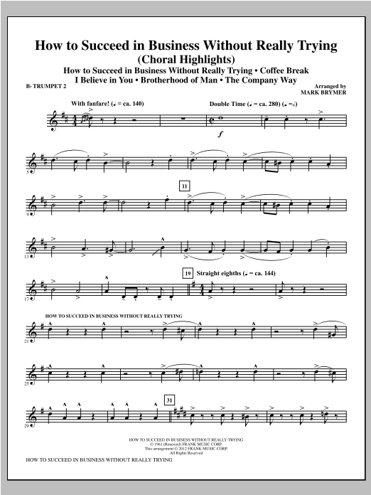 How to Succeed In Business Without Really Trying (Medley) - Bb Trumpet 2 (Choir Instrumental Pak)