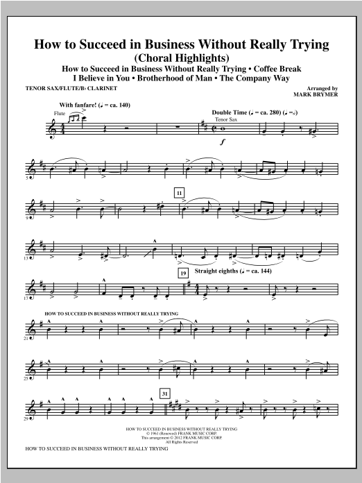 How to Succeed In Business Without Really Trying (Medley) - Tenor Saxophone Sheet Music
