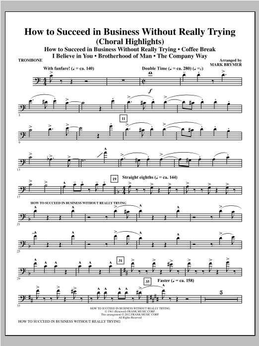 How to Succeed In Business Without Really Trying (Medley) - Trombone Sheet Music