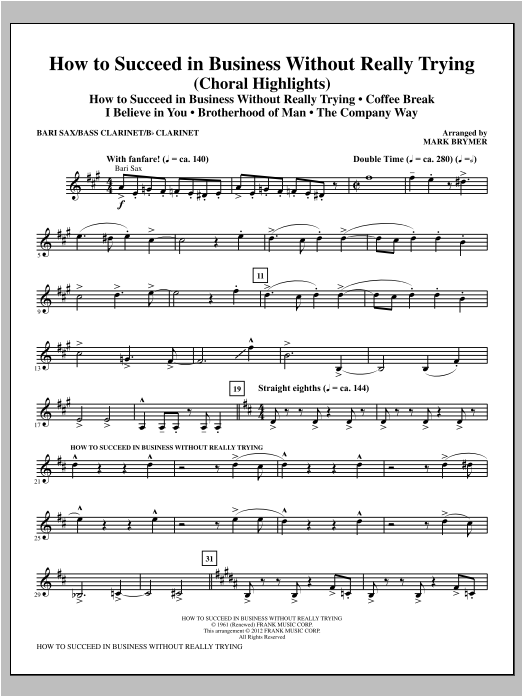 How to Succeed In Business Without Really Trying (Medley) - Baritone Sax Sheet Music