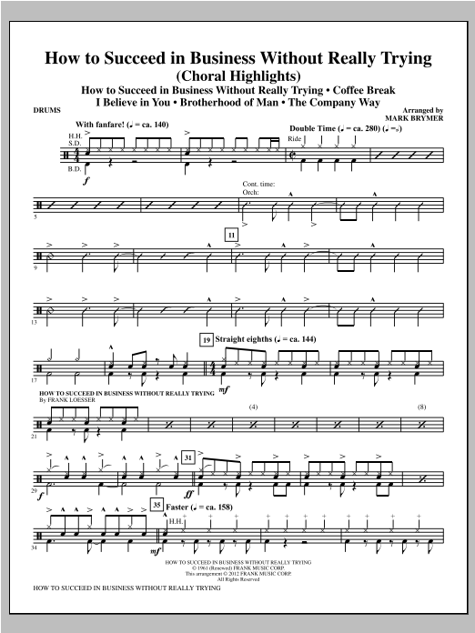 How to Succeed In Business Without Really Trying (Medley) - Drums Sheet Music