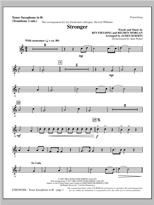 Stronger - Tenor Sax (sub. Tbn 2) Sheet Music