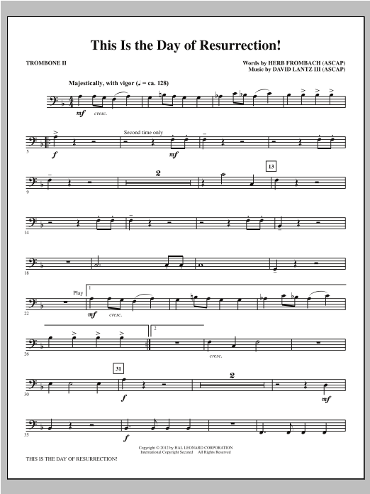 This Is the Day of Resurrection! - Trombone 2 Sheet Music