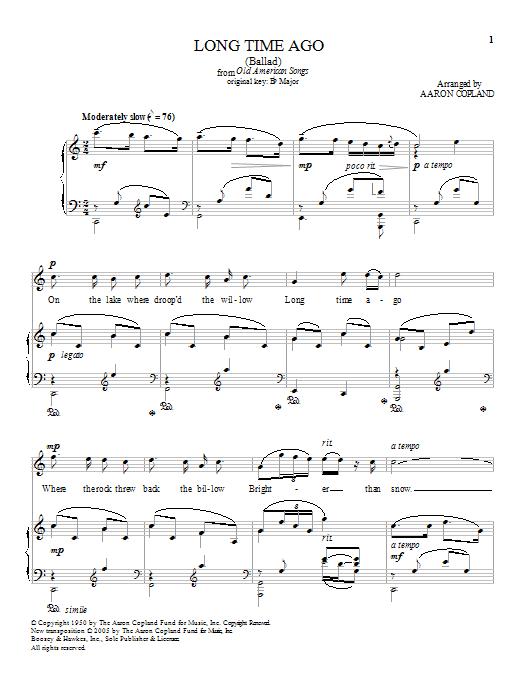 Long Time Ago (Piano & Vocal)