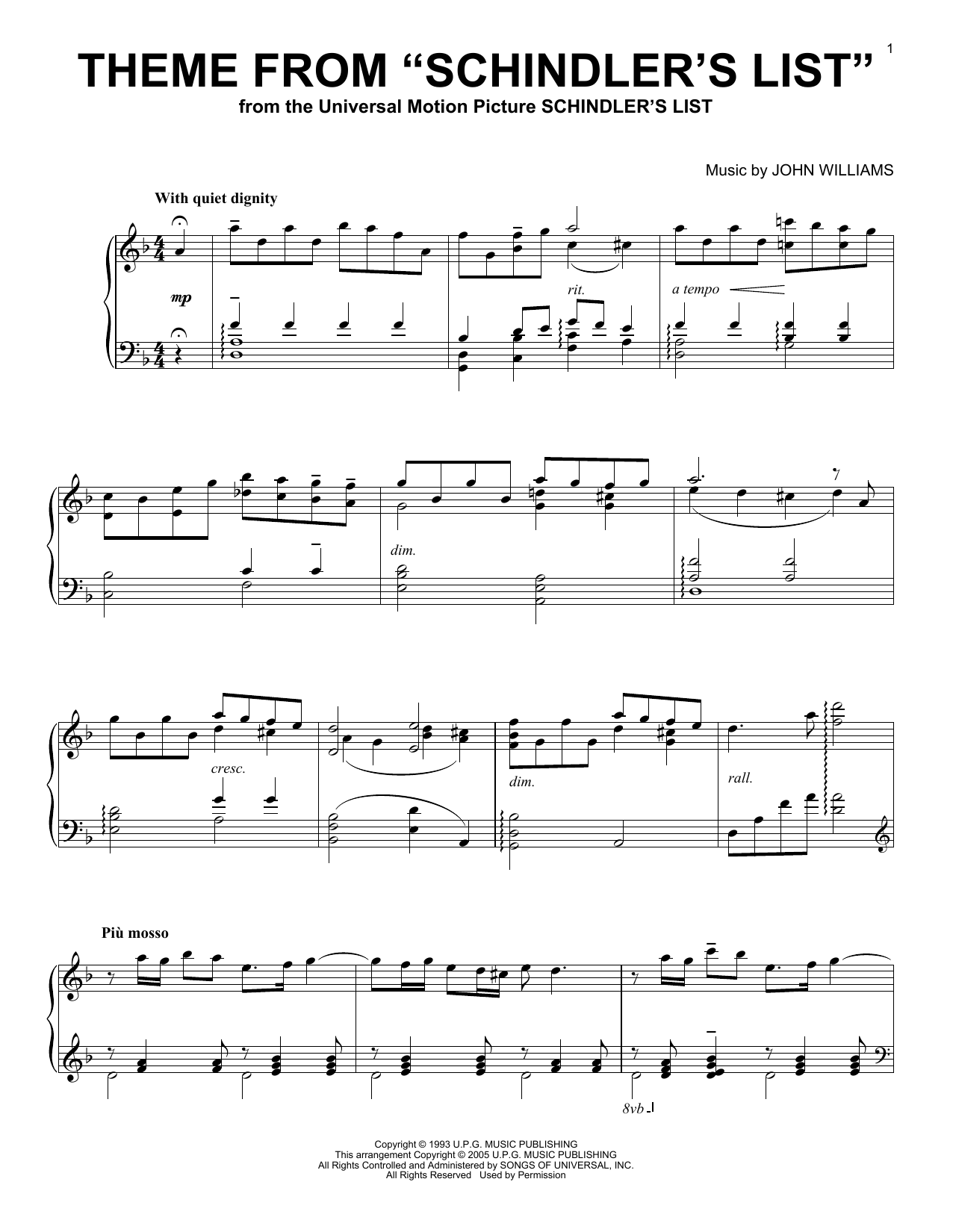 "Theme From ""Schindler's List"" (Piano Solo)"