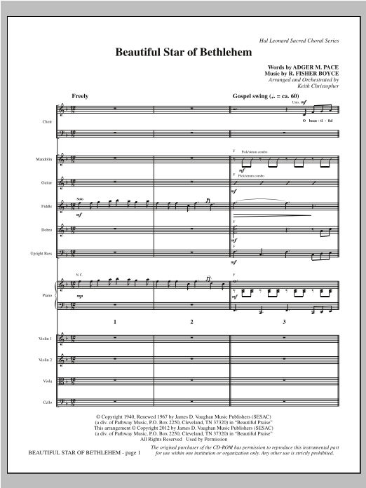 Beautiful Star Of Bethlehem (complete set of parts) sheet music for orchestra/band (Bluegrass/Strings) by Keith Christopher. Score Image Preview.