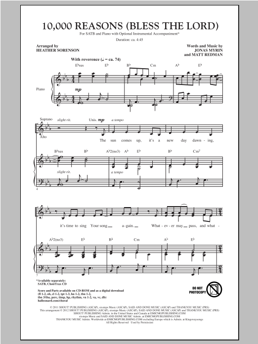 10,000 Reasons (Bless The Lord) (arr. Heather Sorenson) (SATB Choir)