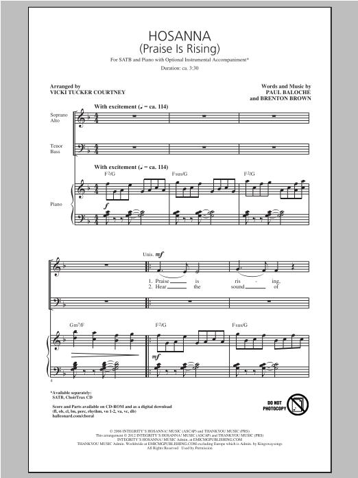 Hosanna (Praise Is Rising) (SATB Choir)