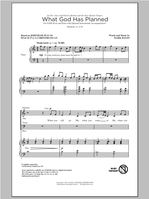 Partition chorale What God Has Planned de Mark Hayes - SATB
