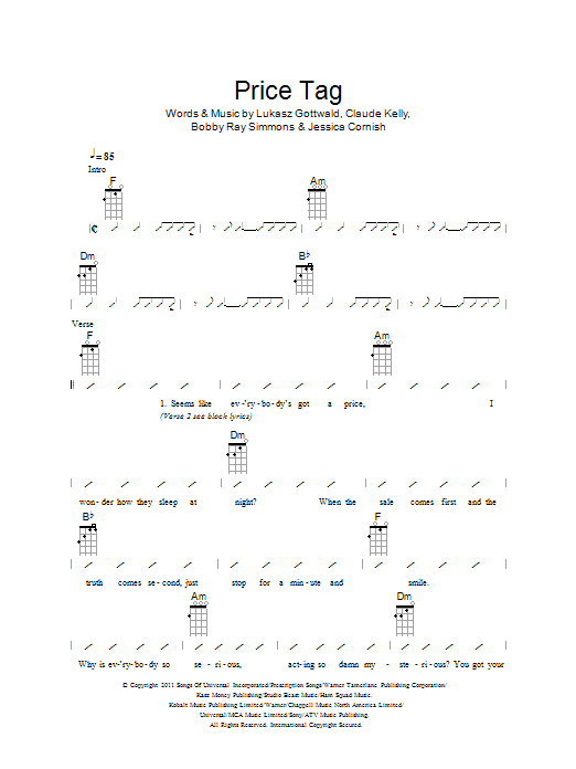 Price Tag - Sheet Music to Download