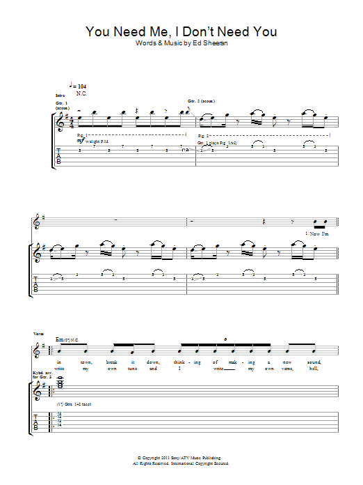 You Need Me I Don't Need You Sheet Music