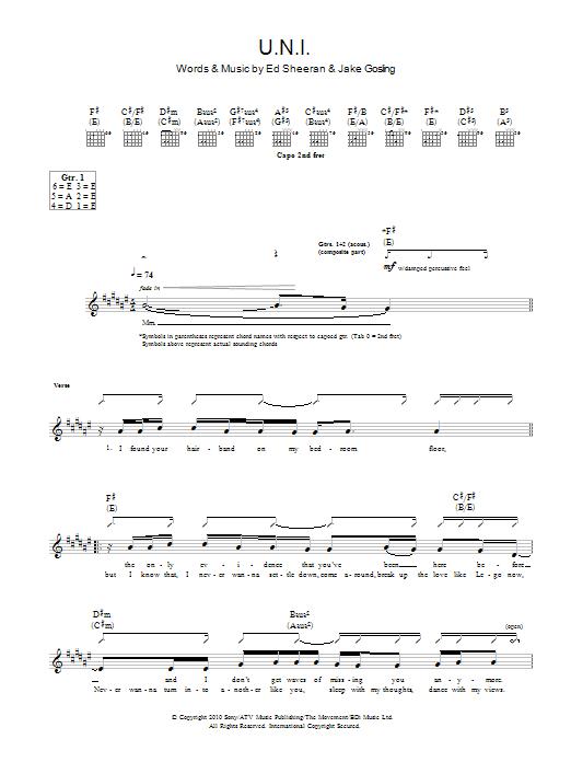 U.N.I Sheet Music