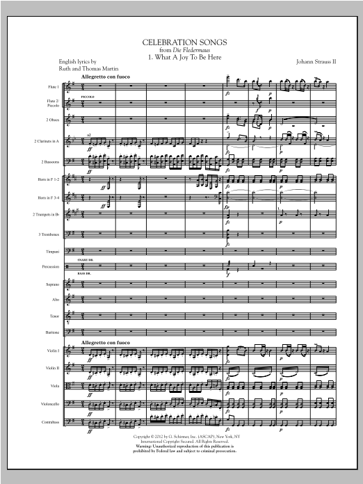 Celebration Songs (from Die Fledermaus) (complete set of parts) sheet music for orchestra/band (Orchestra) by Johann Strauss. Score Image Preview.