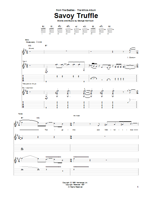 Tablature guitare Savoy Truffle de The Beatles - Tablature Guitare