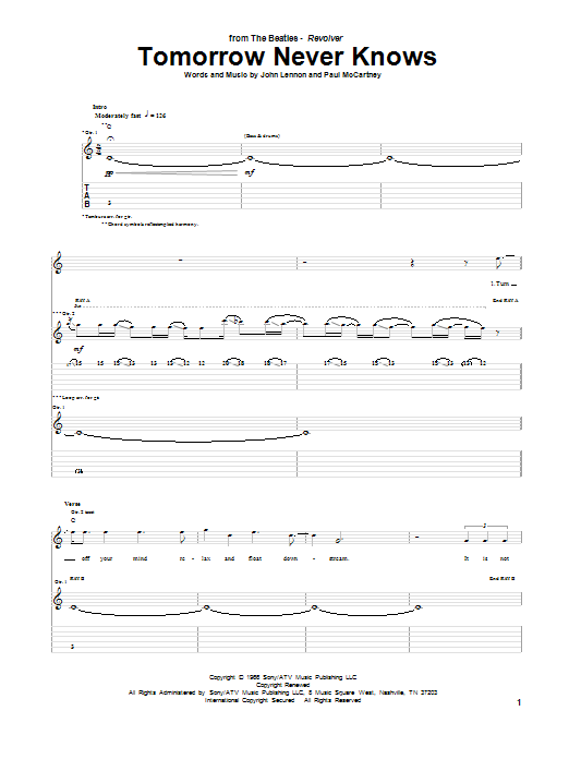 Tablature guitare Tomorrow Never Knows de The Beatles - Tablature Guitare