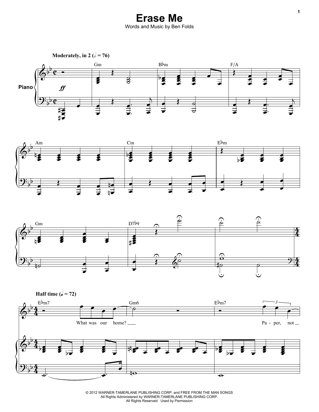 Erase Me (Keyboard Transcription)
