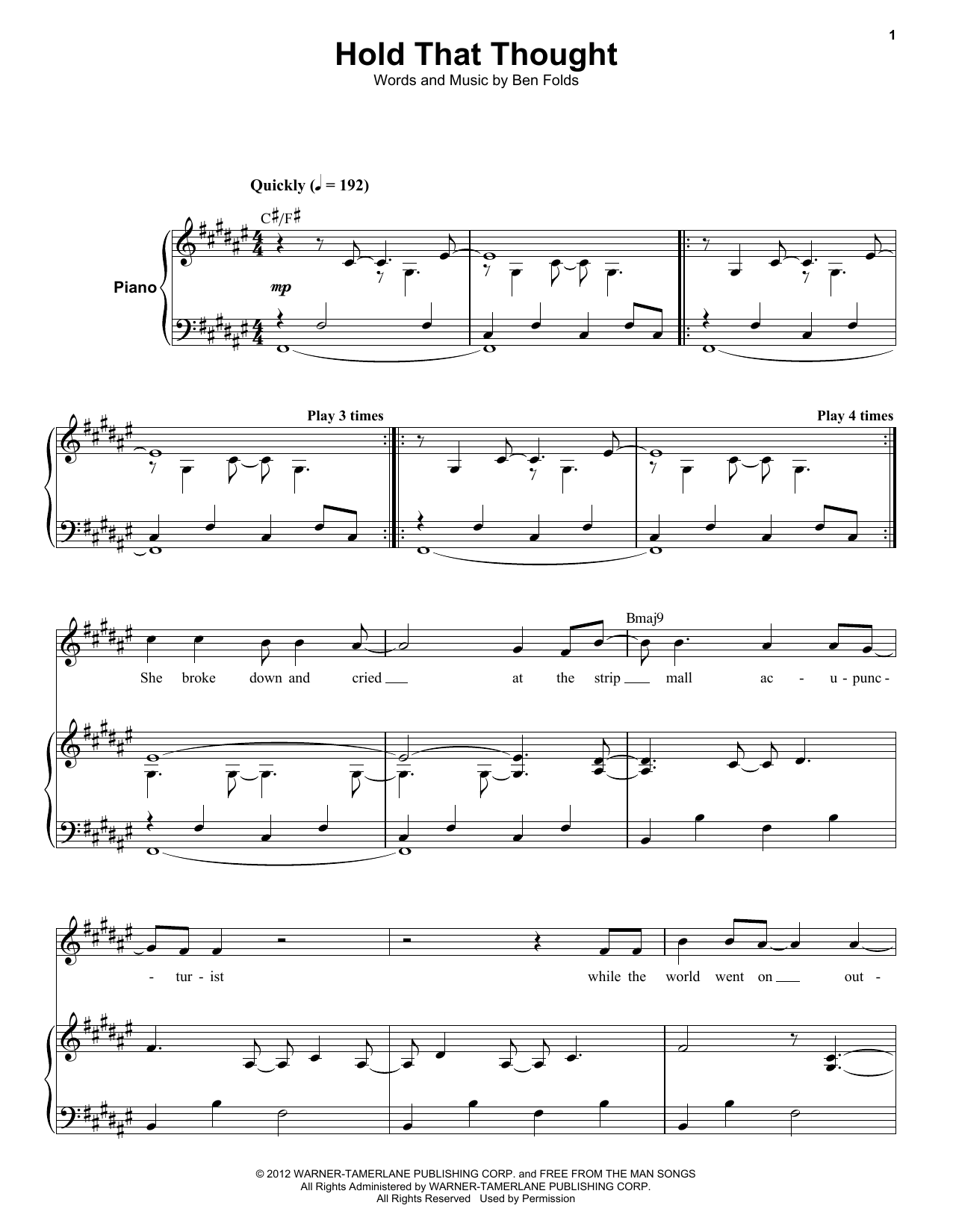 Partition autre Hold That Thought de Ben Folds Five - Autre