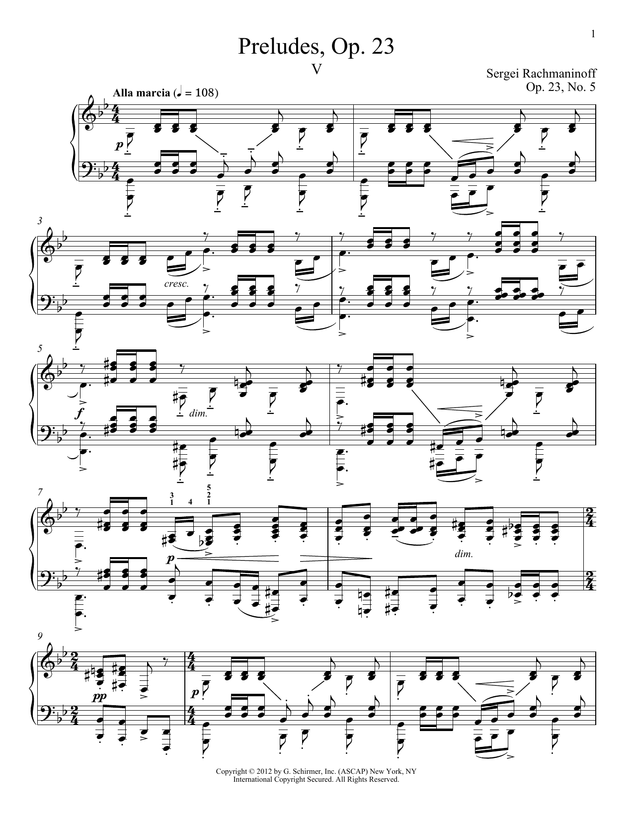 Prelude In G Minor, Op. 23, No. 5 (Piano Solo)