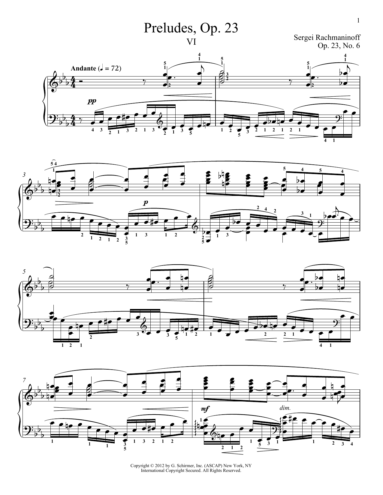 Partition piano Prelude In E-Flat Major, Op. 23, No. 6 de Sergei Rachmaninoff - Piano Solo