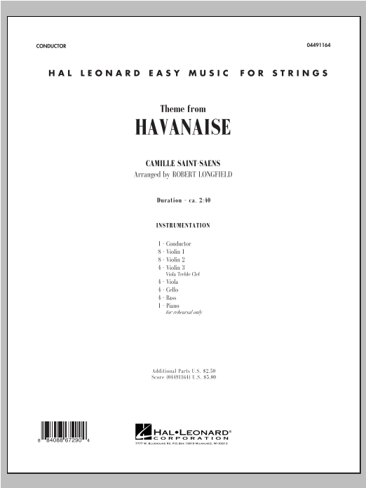 Theme From Havanaise (COMPLETE) sheet music for orchestra by Camille Saint-Saens and Robert Longfield. Score Image Preview.