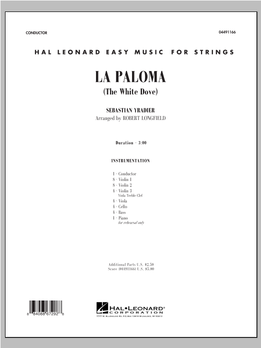 La Paloma (The White Dove) (COMPLETE) sheet music for orchestra by Robert Longfield and Sebastian Yradier. Score Image Preview.