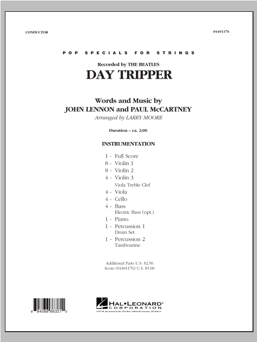 Day Tripper (COMPLETE) sheet music for orchestra by Larry Moore and The Beatles. Score Image Preview.